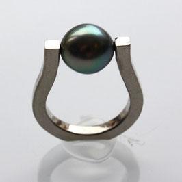 Ring, 585 Palladiumweißgold, Tahitiperle