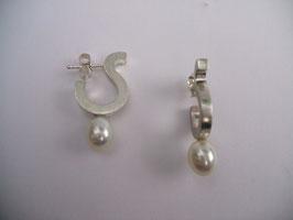 Ohrstecker 925 Silber, Süßwasserperle weiß, passend zu Perlring weiß