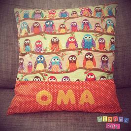 Namenskissen «Oma / Opa Eule»