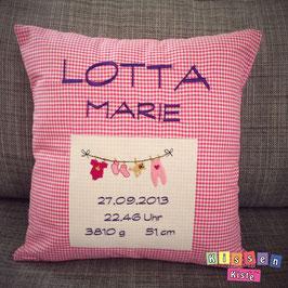 Kissen zur Geburt «Lotta Marie»