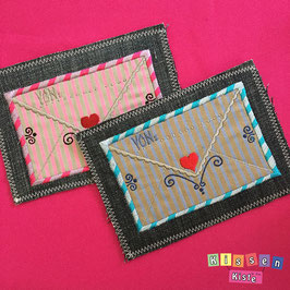 Postkarte «Brief rosa oder blau»