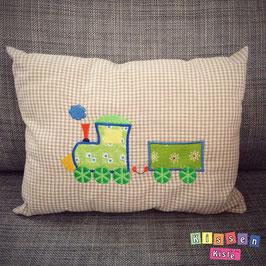 Kissen mit Stickmotiv «Zug»