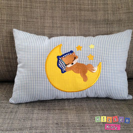 Kissen mit Stickmotiv «Schlafender Fuchs auf Mond»