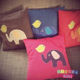 Kinderkissen «Elefant mit Vogel»