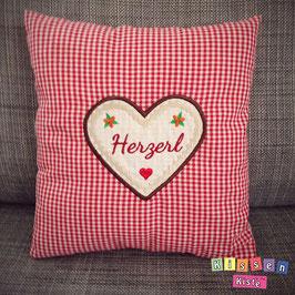 Kissen mit Stickmotiv «Herzl»