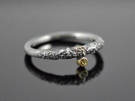 """Silber-Ring """"Black Snake-Eye"""" 925er Silber 585er Gelbgold Citrin"""