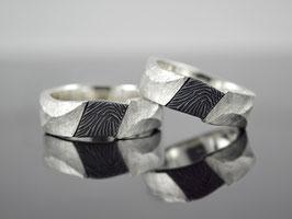 """Eherringe / Trauringe  """"Fingerabdruck Black N White"""" Silber teilweise geschwärzt"""