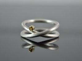 """Silber-Ring """"Unendlich 2"""" 925er Silber 585er Gelbgold Citrin"""