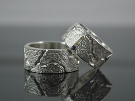 Partnerringe / Trauringe Silber mit Saphir