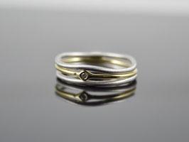 "Ringset ""Minimalistic Trio Silber-Gold Brillant "", 925er Silber, 585er Gold"