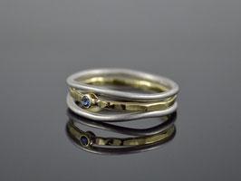 "Ringset ""Minimalistic Trio Silber-Gold Saphir "", 925er Silber, 585er Gold"
