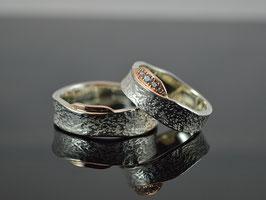 Partnerringe, Verlobungsringe aus 925er Silber/ 585er Roségold mit Brillanten