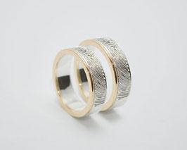 "Verlobungsringe ""Fingerabdruck"" Silber Gold"