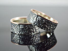 "Silber /Gold Partnerringe/ Eheringe ""Golden Nightingale"""