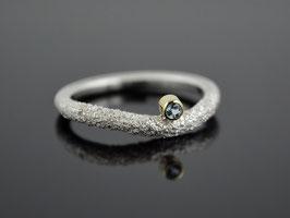 """Silber-Ring """"Snake-Eye"""" 925er Silber 585er Gelbgold Topas"""