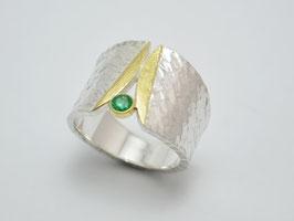 925 Silber / 750 Gold - Ring Smaragd