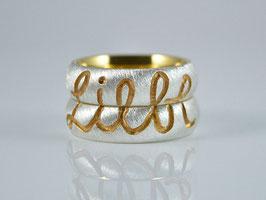 "Partnerringe / Trauringe "" Liebe "" Silber/Gold"