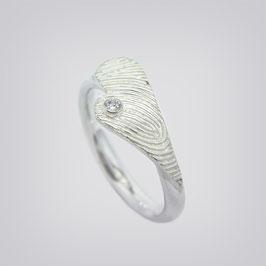 Antragsring mit Fingerabdruck - Brillant/Silber