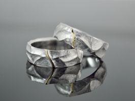 """Eherringe / Trauringe """" Juntos """"Silber rhodiniert - 750er Gelbgold"""
