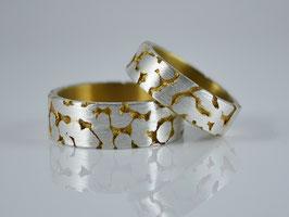 "Partnerringe/Trauringe Silber / Gold ""Fusion"""