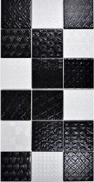 Retro Mosaik Schach schwarz h10016 (und oder) weiß h10018