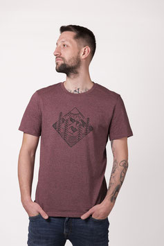 "T- Shirt ""Forest"" black heather cranberry"