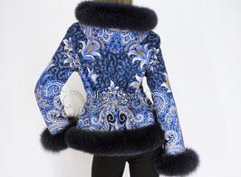 """Куртка с капюшоном  из павлопосадких платков """"Морозко-2"""" с натуральным мехом песца"""