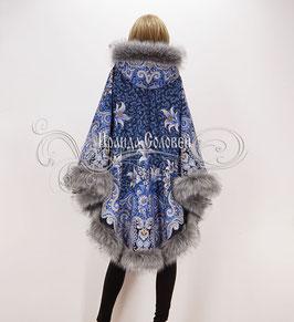 """Пальто-пончо с постоянным капюшоном """"Морозко-19"""" из павловопосадских платков"""