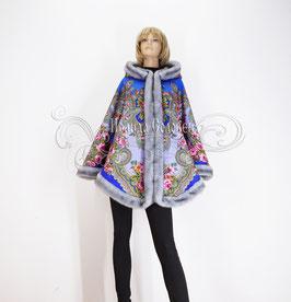 """Пальто-накидка с отстегивающимся капюшоном """"Серебро-2"""" из павловопосадского платка"""
