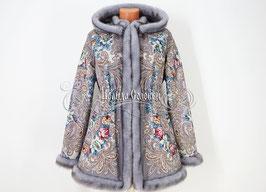 """Удлинённая куртка с отстегивающимся капюшоном  из павлопосадких платков """"Тайна сердца-2"""""""