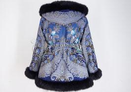 """Удлинённая куртка с отстегивающимся капюшоном  из павлопосадких платков """"На гребне волны"""""""