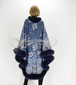 """Пальто-пончо """"Морозко-2"""" с натуральным мехом темно-синего песца"""