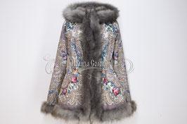 """Удлинённая куртка с отстегивающимся капюшоном  из павлопосадких платков """"Тайна сердца"""""""