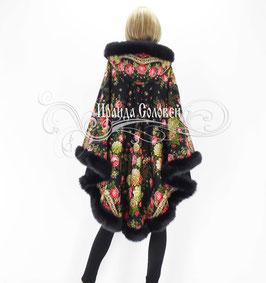 """Пальто-пончо с отстегивающимся капюшоном """"Черные глаза-9"""" из павловопосадских платков"""