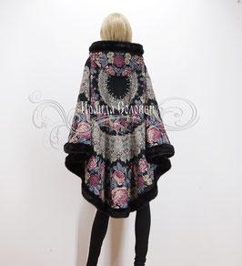 """Пальто-пончо с отстегивающимся капюшоном """"Молитва-10"""" из павловопосадских платков"""