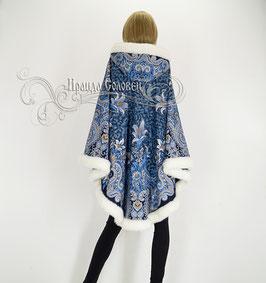 """Пальто-пончо с отстегивающимся капюшоном """"Морозко-14"""" из павловопосадских платков"""
