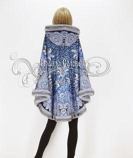 """Пальто-пончо с отстегивающимся капюшоном """"Морозко-18"""" из павловопосадских платков"""