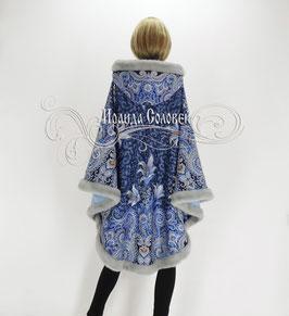"""Пальто-пончо с отстегивающимся капюшоном """"Морозко-5"""" из павловопосадских платков"""
