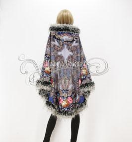 """Пальто-пончо с отстегивающимся капюшоном """"Сон бабочки-2"""" из павловопосадских платков"""