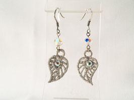 Boucles d'oreilles feuilles- argent 925