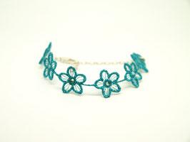 Bracelet en argent 925, réglable, broderie florale bleu turquoise