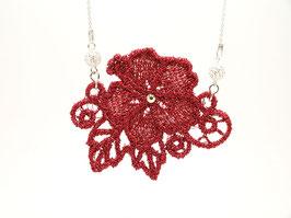 Ras de cou en argent 925- Fleur rouge