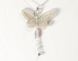 Collier ras de cou papillon argenté - argent 925 - style bohème