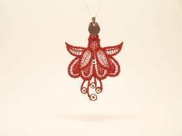 Collier en argent 925 - Fleur de fuchsia rouge