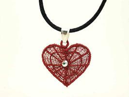 Pendentif cœur rouge - Collier en argent 925
