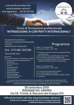 """Corso di Formazione Professionale """"INTRODUZIONE AI CONTRATTI INTERNAZIONALI"""""""