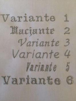 Bestickungsauftrag Schriftzug Name