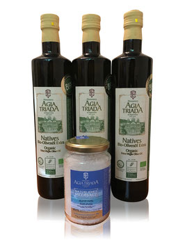 Sparset 3x750ml Flaschen BIO Olivenöl Extra Nativ + Fleur de Sel 250g alles vom Kloster Agia Triada Kreta GR-BIO-01