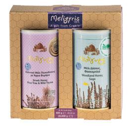 Meligyris 2er Honigset, Kiefernhonig mit Wildthymian u.Premium Waldhonig mit Salbeiblüten 2x400g, Kreta