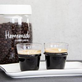 """Glas mit Schriftzug """"Espresso"""""""
